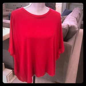 Neiman Marcus red batwing sweater w/ sheer edge